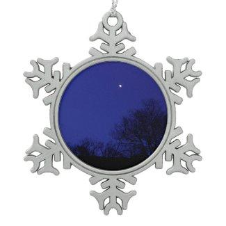 Moon and Trees Santa Monica Mtn Snowflake Ornament