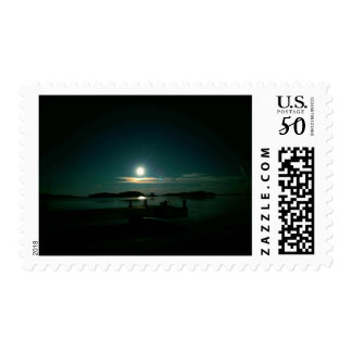 Moon and Venus in the Sea Postage