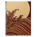 moon and wave spiral notebook
