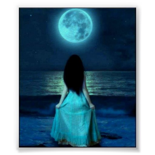 MOON AND WOMAN POSTER