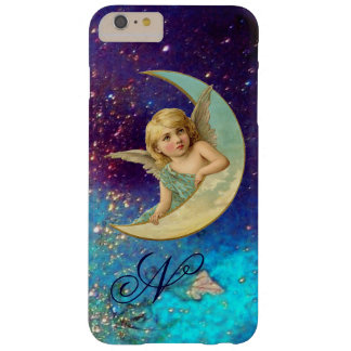 MOON ANGEL IN BLUE GOLD SPARKLES Monogram Barely There iPhone 6 Plus Case