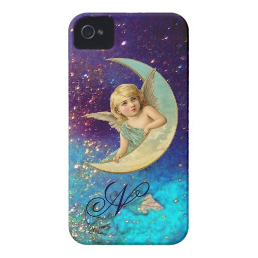MOON ANGEL IN BLUE GOLD SPARKLES Monogram iPhone 4 Covers