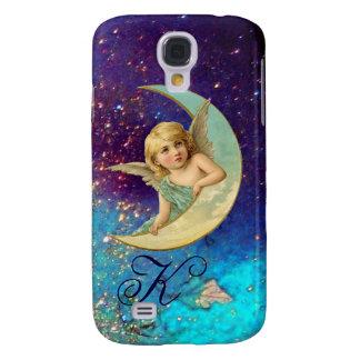 MOON ANGEL IN BLUE GOLD SPARKLES Monogram Galaxy S4 Case