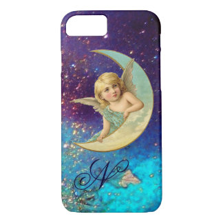 MOON ANGEL IN BLUE GOLD SPARKLES Monogram iPhone 8/7 Case