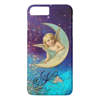MOON ANGEL IN BLUE GOLD SPARKLES Monogram iPhone 8 Plus/7 Plus Case