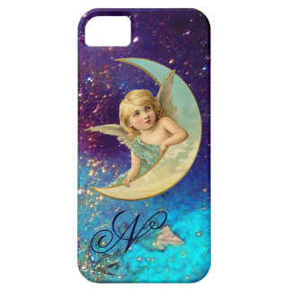 MOON ANGEL IN BLUE GOLD SPARKLES Monogram iPhone SE/5/5s Case