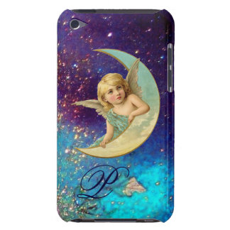 MOON ANGEL IN BLUE GOLD SPARKLES Monogram iPod Touch Case