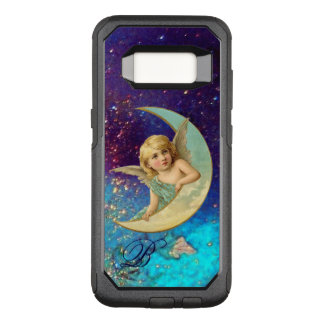 MOON ANGEL IN BLUE GOLD SPARKLES Monogram OtterBox Commuter Samsung Galaxy S8 Case