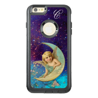 MOON ANGEL IN BLUE GOLD SPARKLES Monogram OtterBox iPhone 6/6s Plus Case