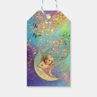 MOON ANGEL IN BLUE GOLD YELLOW SPARKLES GIFT TAGS