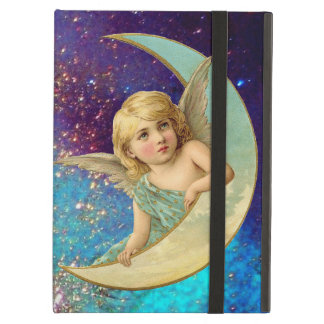MOON ANGEL IN BLUE GOLD YELLOW SPARKLES iPad AIR COVER