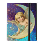 MOON ANGEL IN BLUE GOLD YELLOW SPARKLES iPad FOLIO CASE