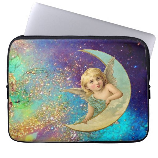 MOON ANGEL IN BLUE GOLD YELLOW SPARKLES LAPTOP SLEEVE
