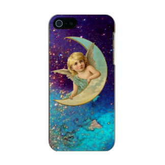 MOON ANGEL IN BLUE GOLD YELLOW SPARKLES METALLIC PHONE CASE FOR iPhone SE/5/5s