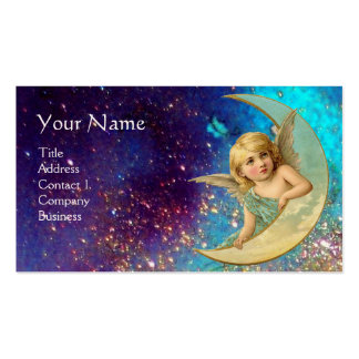 MOON ANGEL IN BLUE GOLD YELLOW SPARKLES MONOGRAM BUSINESS CARD TEMPLATES