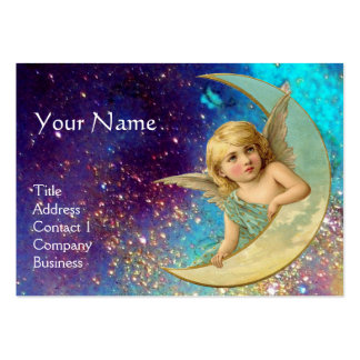 MOON ANGEL IN BLUE GOLD YELLOW SPARKLES MONOGRAM BUSINESS CARD TEMPLATE