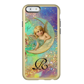 MOON ANGEL IN BLUE GOLD YELLOW SPARKLES MONOGRAM INCIPIO FEATHER® SHINE iPhone 6 CASE