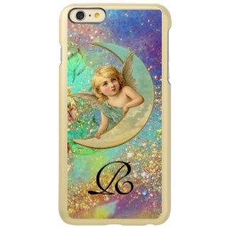 MOON ANGEL IN BLUE GOLD YELLOW SPARKLES MONOGRAM INCIPIO FEATHER SHINE iPhone 6 PLUS CASE