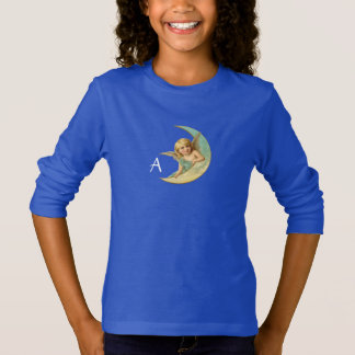 MOON ANGEL IN BLUE GOLD YELLOW SPARKLES MONOGRAM T-Shirt