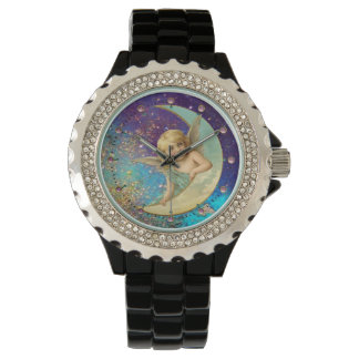 MOON ANGEL IN BLUE GOLD YELLOW SPARKLES WATCH