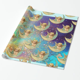 MOON ANGEL IN BLUE GOLD YELLOW SPARKLES WRAPPING PAPER