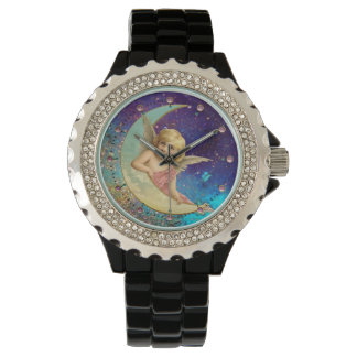 MOON ANGEL IN BLUE GOLD YELLOW SPARKLES WRISTWATCH