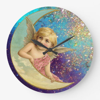 MOON ANGEL IN GOLD BLUE SPARKLES LARGE CLOCK