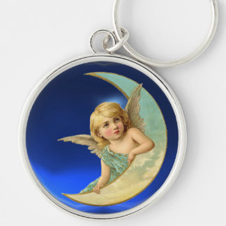 MOON ANGEL Silver-Colored ROUND KEYCHAIN