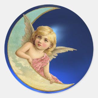 MOON ANGEL ROUND STICKER