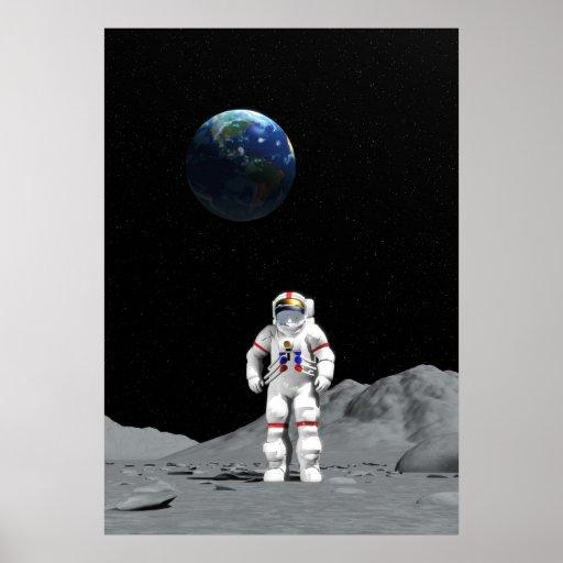 Moon astronaut poster
