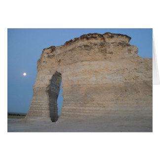 """""""Moon At Monument Rocks"""" Greeting Card"""