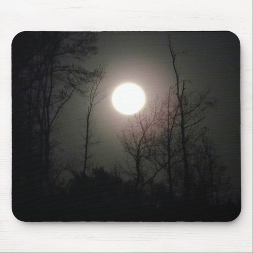 Moon Behind the Trees Mouse Pad