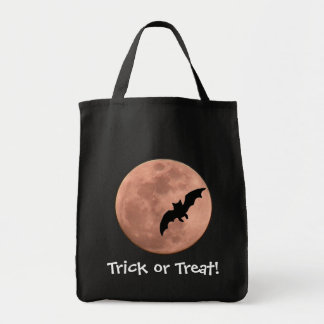 Moon & Black Bat Halloween Tote Bag