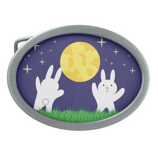 Moon Bunnies Oval Belt Buckles