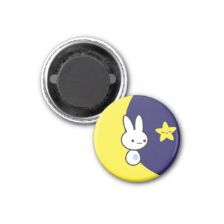 Moon Bunny 1 Inch Round Magnet