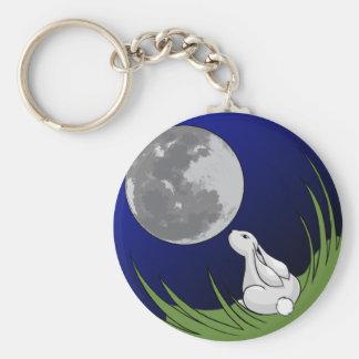 Moon Bunny Basic Round Button Keychain