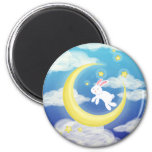 Moon Bunny Blue 2 Inch Round Magnet