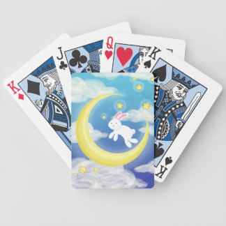 Moon Bunny Blue Bicycle Playing Cards