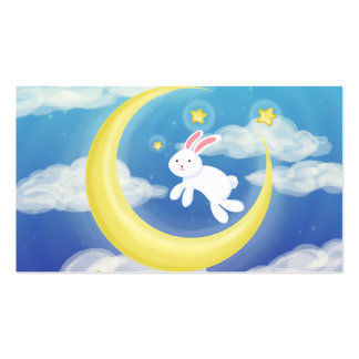 Moon Bunny Blue Double-Sided Standard Business Cards (Pack Of 100)