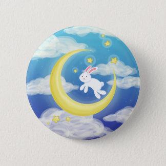 Moon Bunny Blue Button