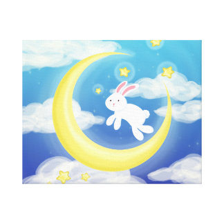 Moon Bunny Blue Canvas Print