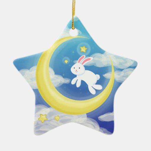 Moon Bunny Blue Christmas Tree Ornaments