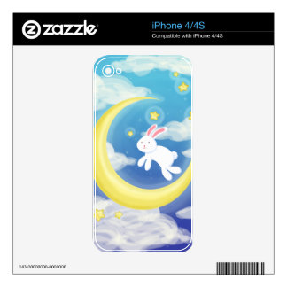 Moon Bunny Blue Decals For iPhone 4