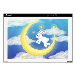 Moon Bunny Blue Laptop Decal