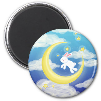 Moon Bunny Blue Magnet