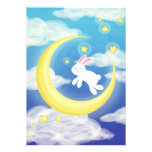 Moon Bunny Blue Personalized Announcement