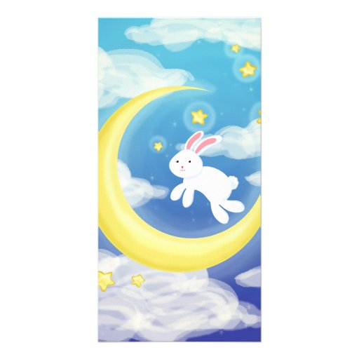 Moon Bunny Blue Picture Card