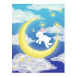 Moon Bunny Blue Postcards