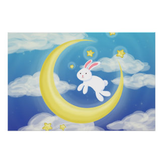Moon Bunny Blue Posters
