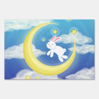 Moon Bunny Blue Sign